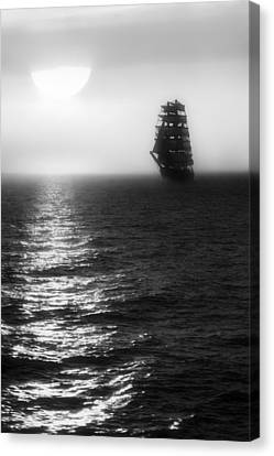 Canvas Print featuring the photograph Sailing Out Of The Fog - Black And White by Jason Politte