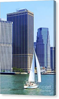 Sailing Past The Skyscrapers Canvas Print by Nishanth Gopinathan