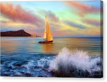 Dale Jackson Canvas Print - Sailing Past Waikiki by Dale Jackson