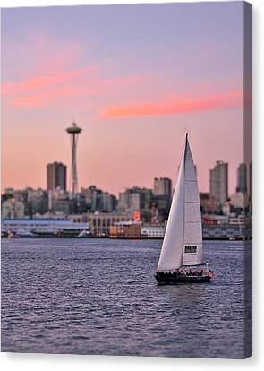 Sailing Puget Sound Canvas Print by Adam Romanowicz