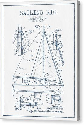 Sail Boats Canvas Print - Sailing Rig Patent Drawing From 1967  -  Blue Ink by Aged Pixel