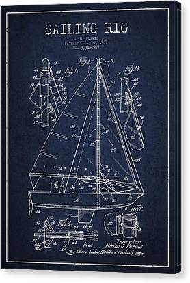 Sailing Rig Patent Drawing From 1967 Canvas Print by Aged Pixel