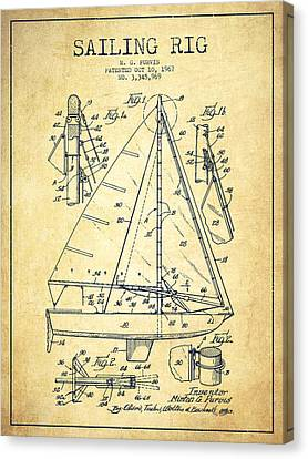 Sailing Rig Patent Drawing From 1967 - Vintage Canvas Print