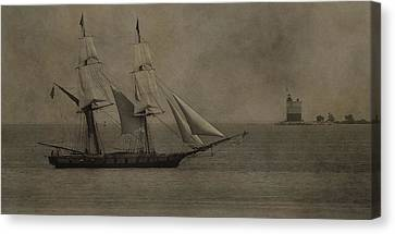 Sailing Ship And Round Island Light Canvas Print by Dan Sproul