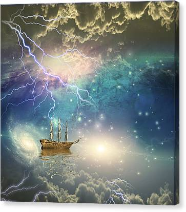 Canvas Print featuring the digital art Sailing Ship Sails Through The Stars by Bruce Rolff