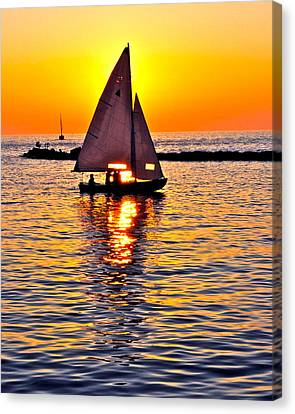 Sailing Silhouette Canvas Print by Frozen in Time Fine Art Photography