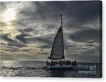 Sailing The Caribbean Canvas Print by Judy Wolinsky