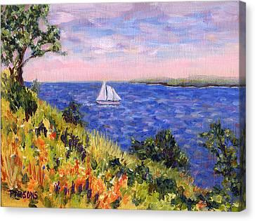 Sailing Through Belfast Maine Canvas Print by Pamela Parsons