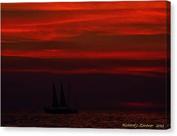 Canvas Print featuring the photograph Sailing Through The After Glow by Richard Zentner