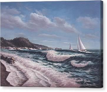Sailing Toward Point Lobos Canvas Print by Del Malonee