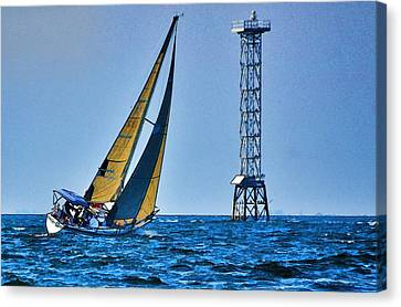 Canvas Print featuring the photograph Sailing Towards The Tower by Pamela Blizzard