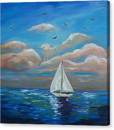 Sailing With My Dad Canvas Print by Linda Olsen