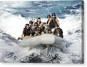 Sailors Conduct Maneuvers Canvas Print by Stocktrek Images