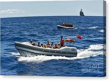 Sailors In Ridged-hull Inflatable Boats Canvas Print