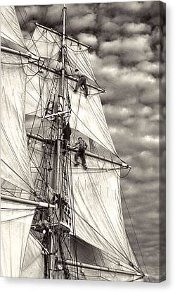 Sailors In Rigging Of Tall Ship Canvas Print