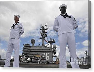 Sailors Man The Rails Aboard Uss Ronald Canvas Print