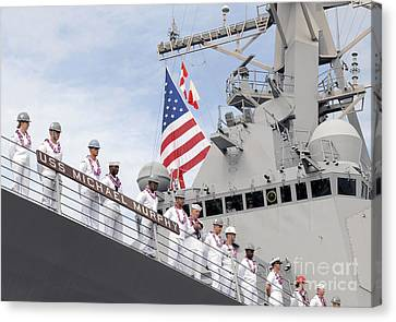 Sailors Man The Rails Aboard Uss Canvas Print