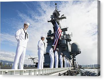 Sailors Man The Rails As Aboard Uss Canvas Print