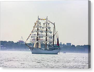 Sailors Standing On Masts Canvas Print