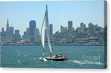 Sailors View Of San Francisco Skyline Canvas Print by Connie Fox