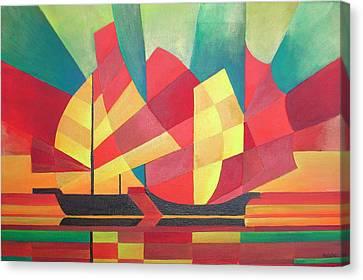 Sails And Ocean Skies Canvas Print by Tracey Harrington-Simpson