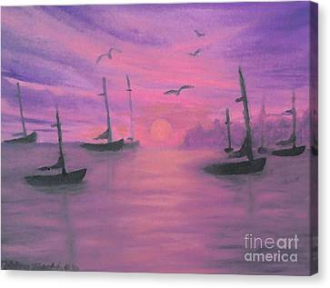 Sails At Dusk Canvas Print by Holly Martinson