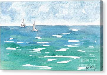 Sails At Sea Canvas Print by Pat Katz