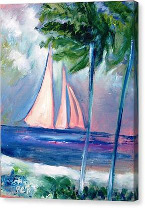 Sails In The Sunset Canvas Print by Patricia Taylor