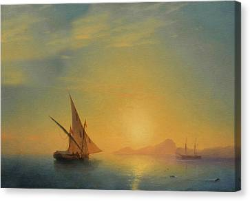Sails In The Sunset Canvas Print by Georgiana Romanovna