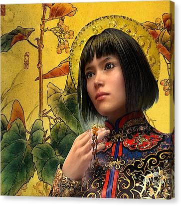 Canvas Print featuring the painting Saint Agatha Lin Zhao Of China by Suzanne Silvir