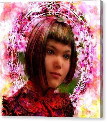 Canvas Print featuring the painting Saint Agatha Lin Zhao From China by Suzanne Silvir