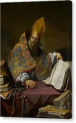 Saint Ambrose Canvas Print by Claude Vignon