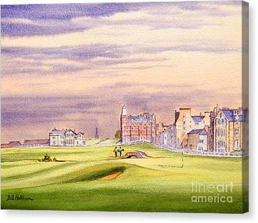 Canvas Print featuring the painting Saint Andrews Golf Course Scotland - 17th Green by Bill Holkham