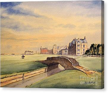 Canvas Print featuring the painting Saint Andrews Golf Course Scotland - 18th Hole by Bill Holkham