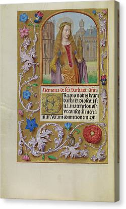 Saint Barbara With A Tower Workshop Of Master Of The First Canvas Print