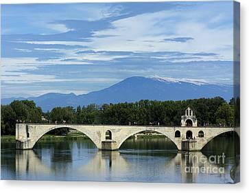 Saint Benezet Bridge Over The River Rhone. View On Mont Ventoux. Avignon. France Canvas Print by Bernard Jaubert