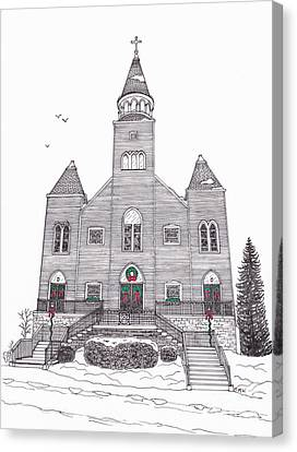 Saint Bridget's Church At Christmas Canvas Print