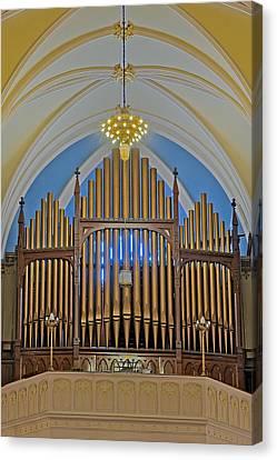 Saint Bridgets Pipe Organ Canvas Print by Susan Candelario
