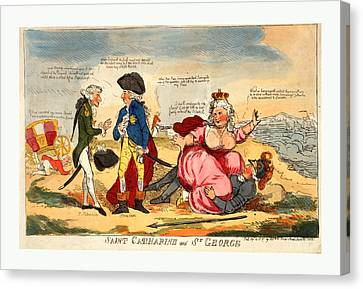 St George Canvas Print - Saint Catharine And St. George, Engraving 1791 by Swedish School