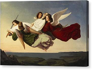 Saint Catherine And Angels Canvas Print by Heinrich Mucke