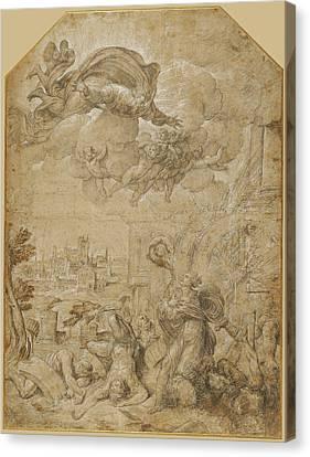Saint Catherine Of Alexandria At The Wheel Nicolò Dellabate Canvas Print by Litz Collection