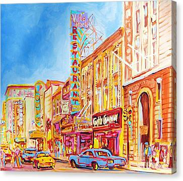 Montreal Memories Canvas Print - Saint Catherine Street Montreal by Carole Spandau