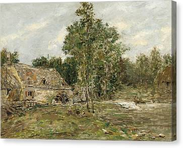Babbling Canvas Print - Saint-cenery The Mill by Eugene Louis Boudin
