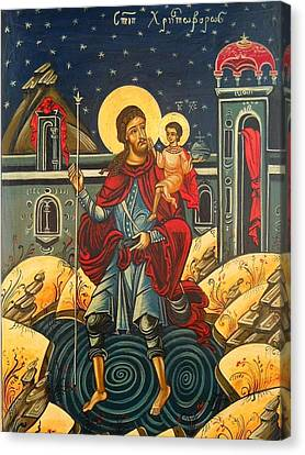 Saint Christopher And The Christ Child Romanian Byzantine Icon Handmade Painting Canvas Print by Denise ClemencoIcons