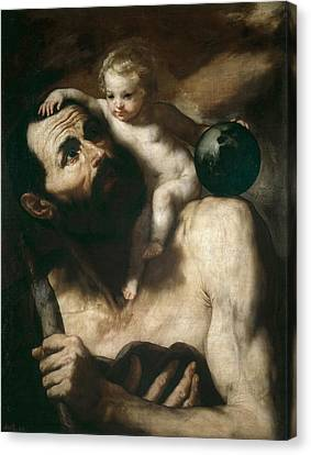 Saint Christopher Canvas Print by Jusepe de Ribera