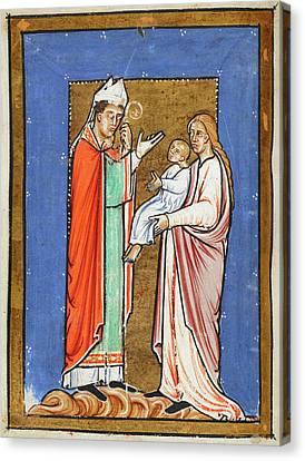 Saint Cuthbert Healing A Child Canvas Print