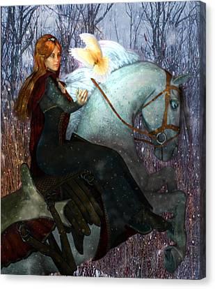Saint Dymphna And The Holy Spirit Canvas Print