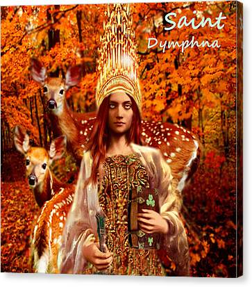 Canvas Print featuring the painting Saint Dymphna by Suzanne Silvir