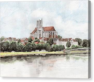 Canvas Print featuring the painting Saint-etienne A Auxerre by Marc Philippe Joly