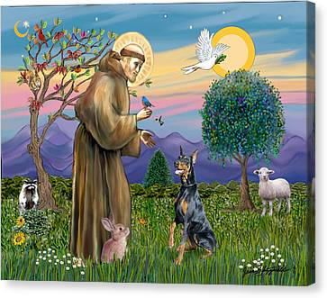 Saint Francis And Doberman Pinscher Canvas Print by Jean Fitzgerald
